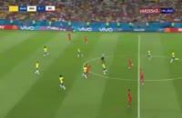 صحنه گل دوم بلژیک به برزیل با شوت فوق العاده دی بروینه