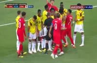فیلم درگیری بازیکنان انگلیس - کلمبیا در جربان بازی