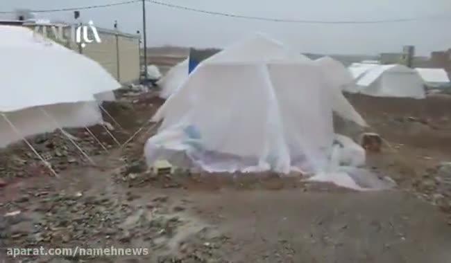 وضعیت چادر زلزله زدگان همزمان با بارش باران