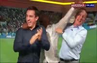 خوشحالی جالب ایان رایت و گری نویل پس از صعود انگلیس به دور بعد جام جهانی