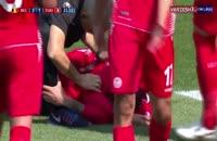 مصدومیت برون گلزن تونس و تعویض اجباری