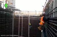 جانمایی شبکه میلگرد دیوار برشی در محل پروژه