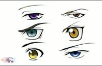 آموزش نقاشی چشم های پسر به سبک انیمه-قسمت 2