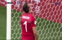 صحنه گل دوم فرانسه به اروگوئه توسط گریزمان روی اشتباه موسلرا
