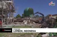 مدفون شدن دهها نمازگزار زیر آوار یک مسجد در زلزله شدید اندونزی