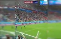 گل اومتیتی به تیم ملی بلژیک از جایگاه تماشاگران حاضر در ورزشگاه