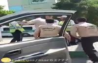درگیری شدید پلیس راهور با مأمور سد معبر شهرداری