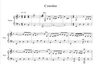 نت پیانو قطعه معروف چارداش با تنظیم سینا حسن پور